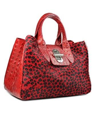Belli® Womens Italian Genuine Leather Tote Bag Real Fur Croco ... bfd6a1a411538