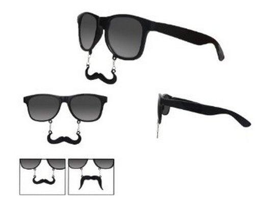 50b4f4bc325 Black Frame Wayfarer Sunglasses With Moustache UV400 (Down) - Top ...