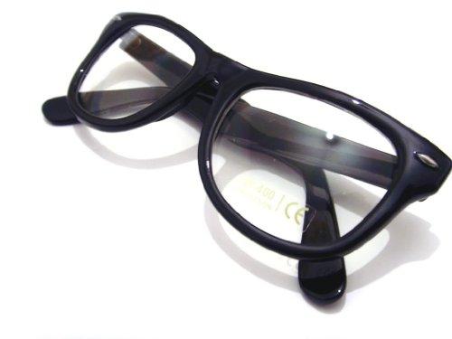 Black Frame Glasses Trend : Black Frame and Clear Lens Wayfarer Style Fashion Glasses ...