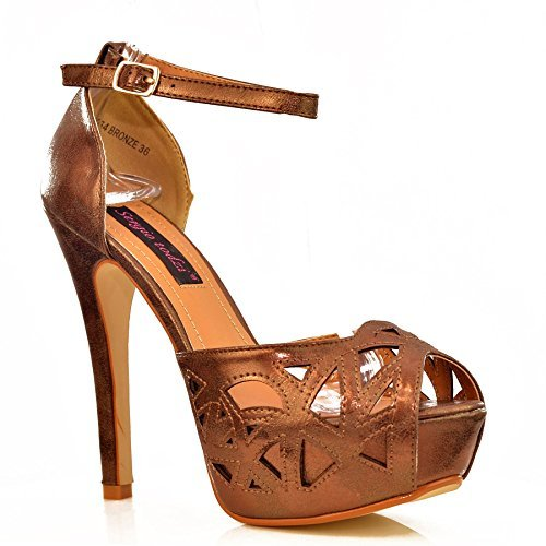 8d91fe697d5 Bronze metallic faux leather buckle ankle strap high heel cut-out ...