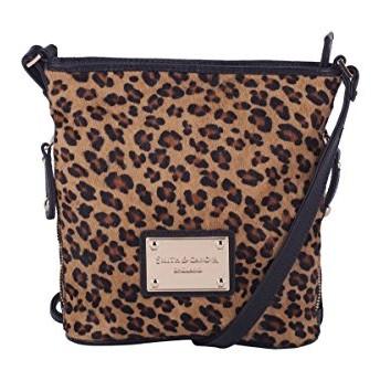 Brown Leather Cross Body Bag Bucket Style Handbag with Leopard Print ... 804d0ef9df69e