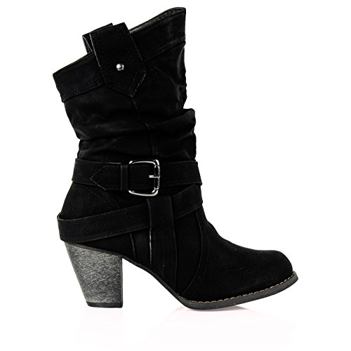 bypublicdemand b5e womens mid high heel cowboy ankle boots