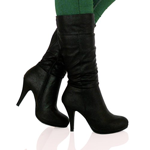 fd907ca3beb ByPublicDemand B6O Womens Mid High Stiletto Heel Mid Calf Boots Black Faux  Leather Size 5 UK