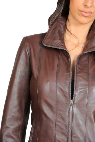 Classic Fitted Zip Up Biker Real Leather Jacket For Women