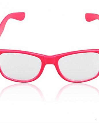 ebbc7cb2b4 Clear Lens Neon Pink Frame Girl Glasses Eyeglasses Nerd - Top ...