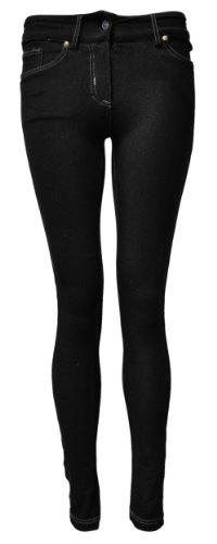 damen frauen skinny fit jeggings denim look leggings 44 uk 16 black top fashion shop. Black Bedroom Furniture Sets. Home Design Ideas