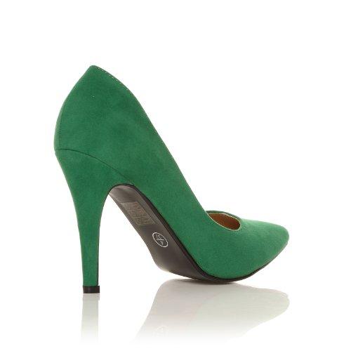 darcy green faux suede stilleto high heel pointed court