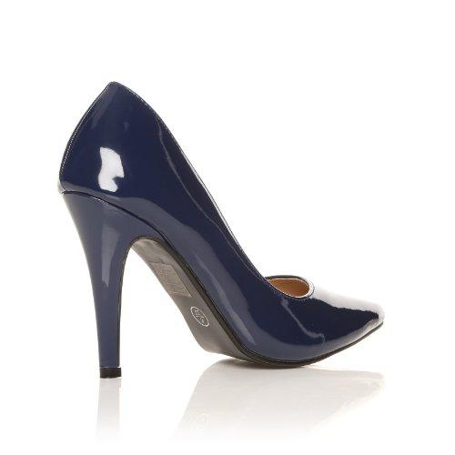 darcy navy patent pu leather stilleto high heel pointed