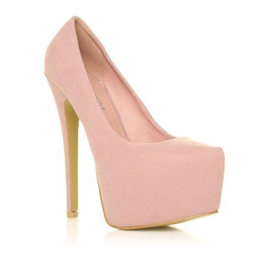 donna baby pink faux suede stilleto high heel