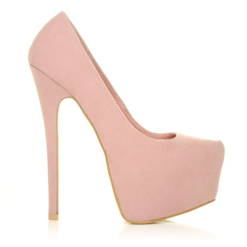 6bc772abcd DONNA Baby Pink Faux Suede Stilleto Very High Heel Platform Court ...