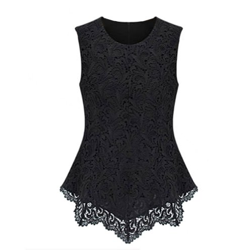 Daditong women 39 s sexy peplum lace shirt trendy sleeveless for Black sleeveless shirt womens