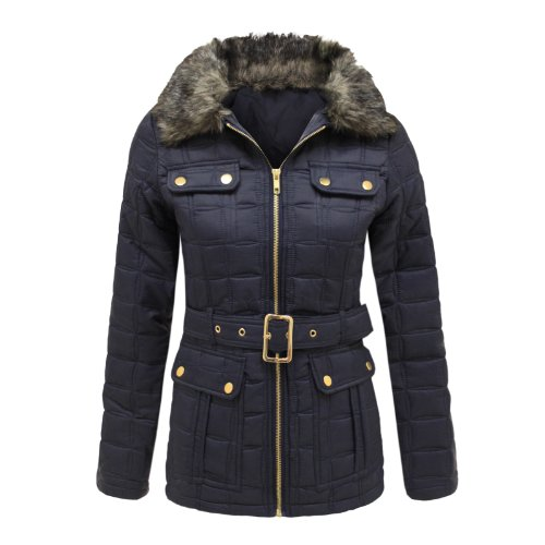 Envy Boutique Ladies Quilted Padded Fur Collared Hooded