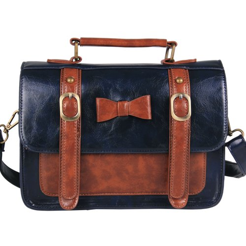 2bea507a1c0f ... Briefcase Messenger Bag (Dark blue). Ecosusi-British-Style-Women -Vintage-Faux-Leather-Satchel-