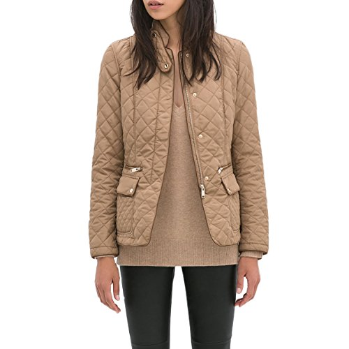Eimbory Women Quilted Piping Jacket Coat Small - Top Fashion Shop