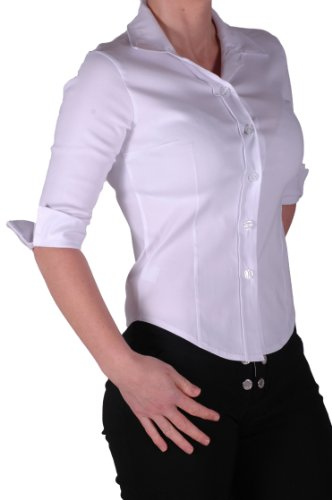 Women'S Fitted White Blouse 120