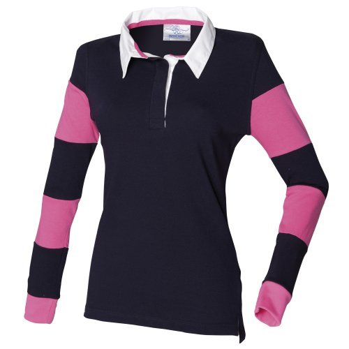 Front Row Womens Ladies Striped Sleeve Sports Rugby Polo