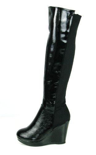 gilljor calf stretch womans wide knee high wedge