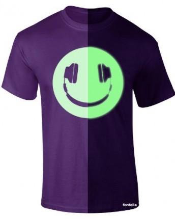 Glow In The Dark Headphone Smiley M Purple New Premium