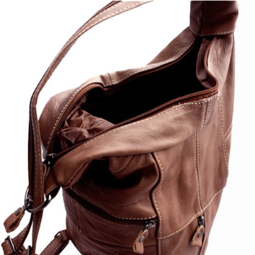 Genuine Leather Sling Backpack Purse Organizer (Brown) - Top Fashion ... 5f5889ecd