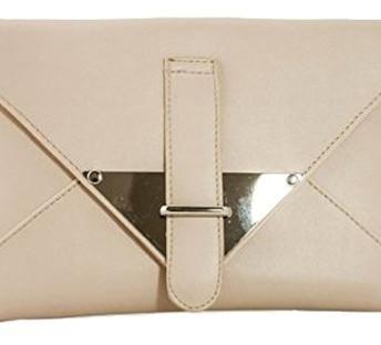 Girly HandBags Beige Cream Nude Envelope Ladies Clutch Bag