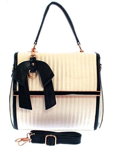 402980ae Girly HandBags Quilted Faux Leather Shoulder Bag Handbag Monochrome Grab  Holder Elegant Women Fashion Bow (Beige Black)