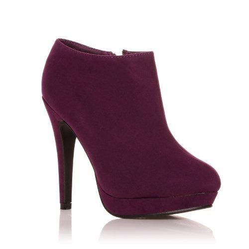 h20 purple faux suede stilleto high heel ankle shoe