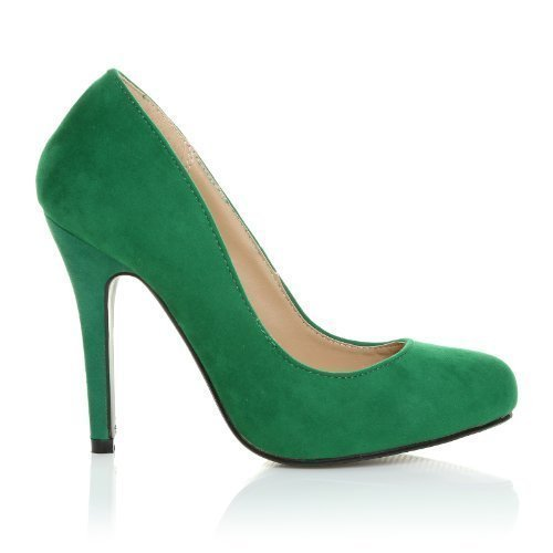 6636abaaab10 HILLARY Green Faux Suede Stilleto High Heel Classic Court Shoes Size ...