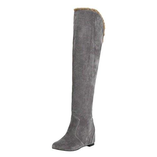 Hee Grand Women Fashion Knee High Slip On Wedge Heel Winter Snow