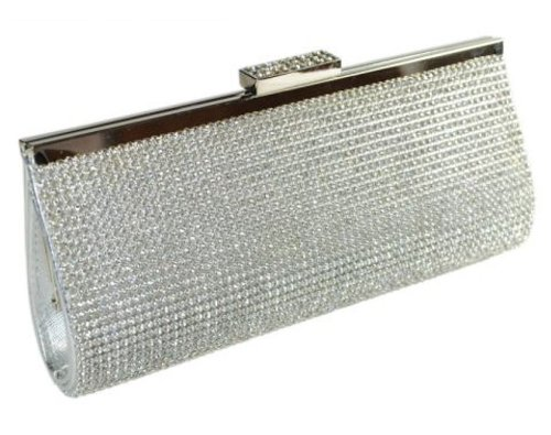 e5bd003c483 High Quality Shimmering Silver Diamante Encrusted Evening bag Clutch ...