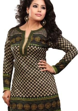 953b37915c India Tunic Top Kurti Womens Printed Blouse Indian Clothing (Green ...