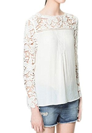 New Women/'s White Chiffon Lace Blouse Long Sleeve Ladies Top Shirt Size 10-12
