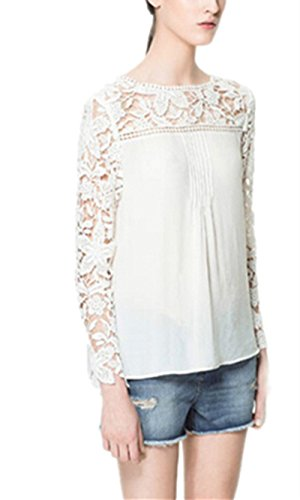 98656f2425 KingSo® New Womens Ladies Long Sleeve Embroidery Lace Top Chiffon ...