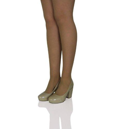 L2f Womens Ladies Mid High Block Heel Slip On Court