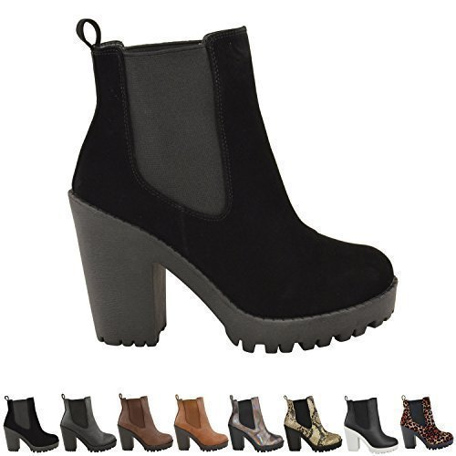 75f0ebf4bf11 LADIES WOMENS CASUAL ELASTICATED HIGH MID BLOCK HEEL ANKLE BOOTS ...