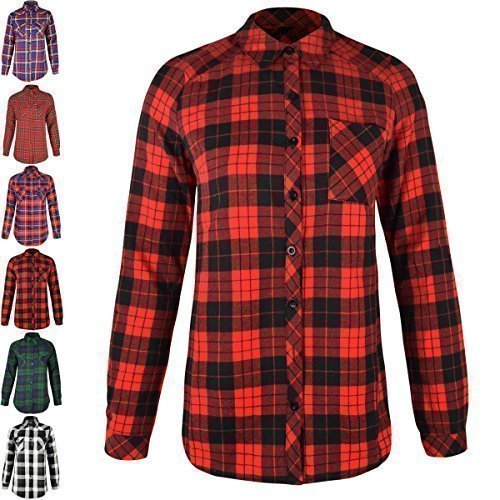Ladies womens check shirt lumberjack long sleeve flannel Womens red plaid shirts blouses