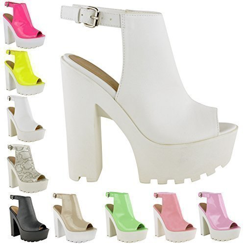 cf258cfe587 LADIES WOMENS CLEATED SOLE HIGH HEEL CHUNKY PLATFORM CUT OUT BOOTS ...