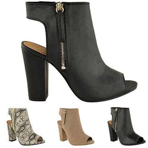 ae3c77b11cce9 LADIES WOMENS CUT OUT BACK PEEP TOE CHUNKY BLOCK MID HIGH HEEL ANKLE ...