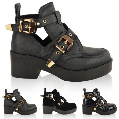 8f4c5462ceb LADIES WOMENS CUT OUT BOOTS FLAT LOW HEEL STRAPPY CHUNKY GOLD BUCKLE ...