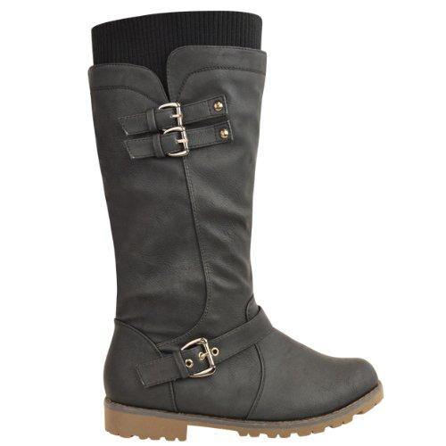 96bd0a8c4ba LADIES WOMENS FLAT GRIP SOLE WIDE LEG CALF KNEE HIGH WINTER RIDING ...