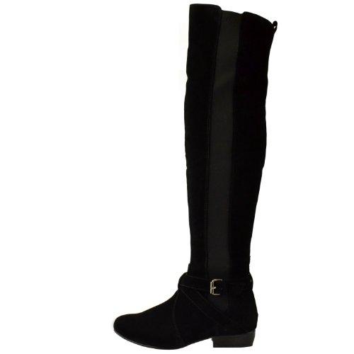 womens flat low heel stretch wide leg the knee
