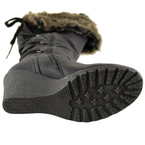 Ladies Womens Fur Lined Mid Wedge Boots High Heel Warm