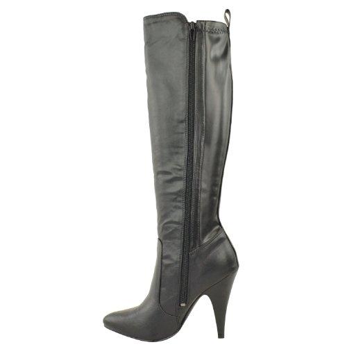 Ladies Womens High Heel Pointed Toe Mid Calf Knee Wide Leg