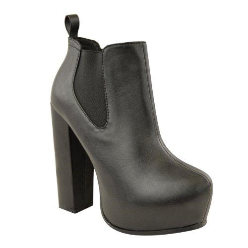 Ladies Womens High Heel Chelsea Ankle Boots Block Booties