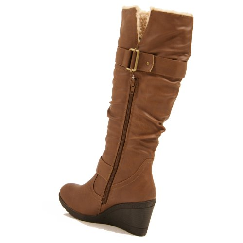 womens knee high faux leather wedge platform boots