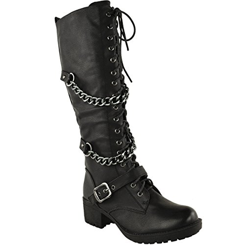 ladies womens knee high mid calf lace up biker punk
