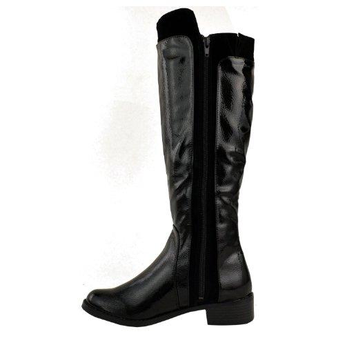 Ladies Womens Low Block Heel Knee Calf High Winter Zip Up