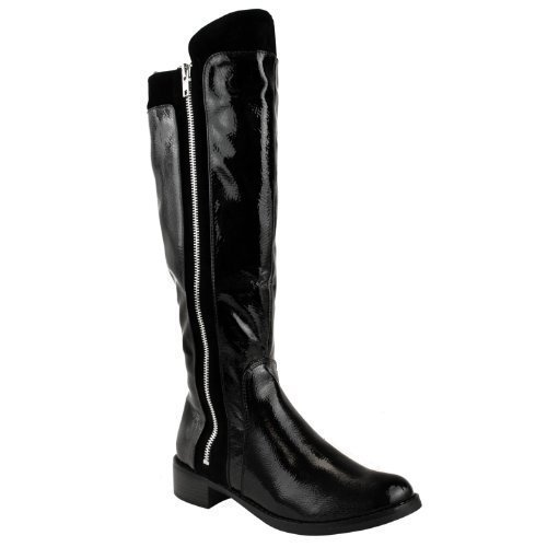 Ladies Womens Low Block Heel Knee Calf High Winter Zip Up