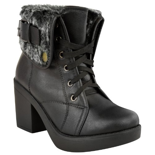 Ladies Womens Mid Block Heel Fur Lined Army Combat Lace Up