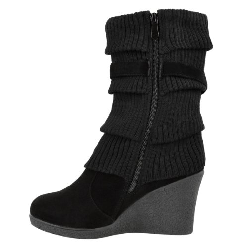Ladies Womens Mid High Wedge Heel Knitted Warm Winter
