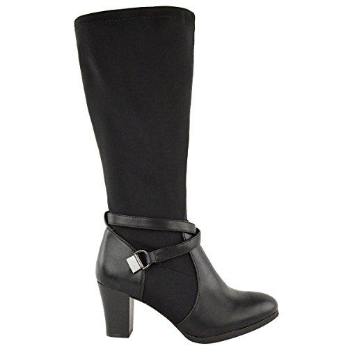 womens wide leg stretch knee high heel mid calf